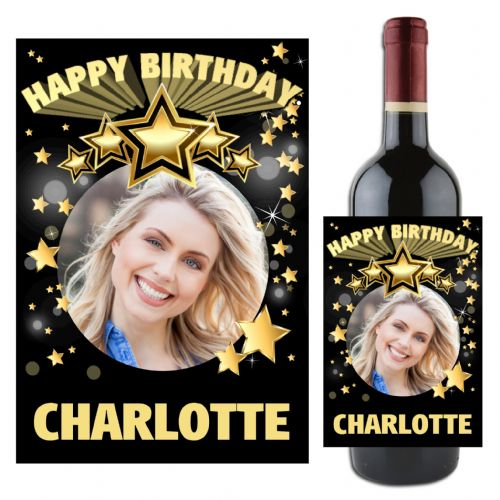 Personalised Happy Birthday Black & Gold Stars Wine / Champagne Bottle PHOTO Label N96